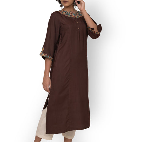 Handwoven Brown Cotton and Silk Kalamkari Patch Kurti