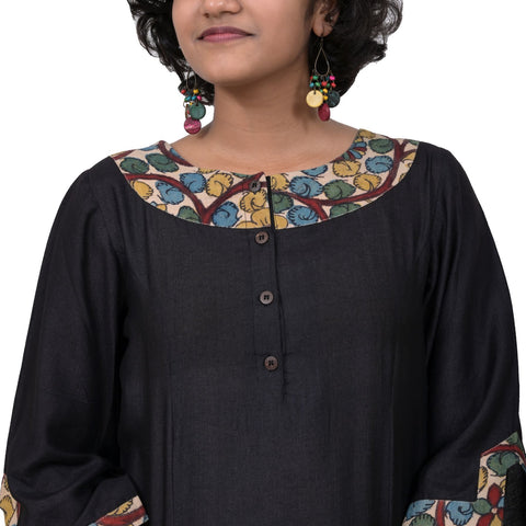 Handwoven Black Cotton and Silk Kalamkari Patch Kurti
