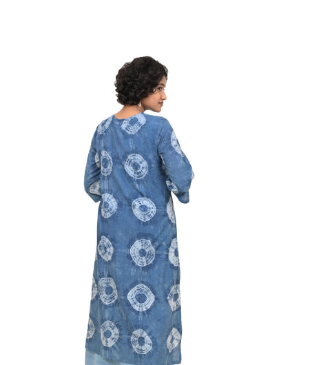 Handwoven Indigo Cotton Shibori Tunic Dress
