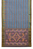 sky blue and purple Ikkat kora silk Saree with pyramid butti