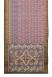 rani pink Ikkat kora silk Saree with paisely butti
