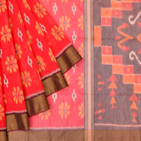 red and maroon Ikkat kora silk Saree with floral butta