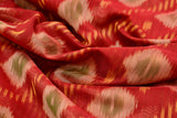 red and maroon Ikkat kora silk Saree with diamond stripes