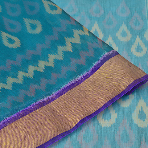 blue and purple Ikkat kora silk Saree with red and yellow drop butta