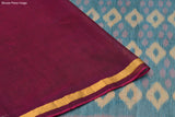 bottle green and maroon Ikkat kora silk Saree with multicolor diamond butta