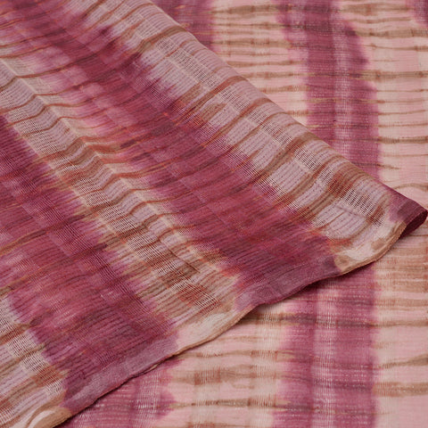 pink and white Handloom tussar Saree with pink shibori pattern stripes