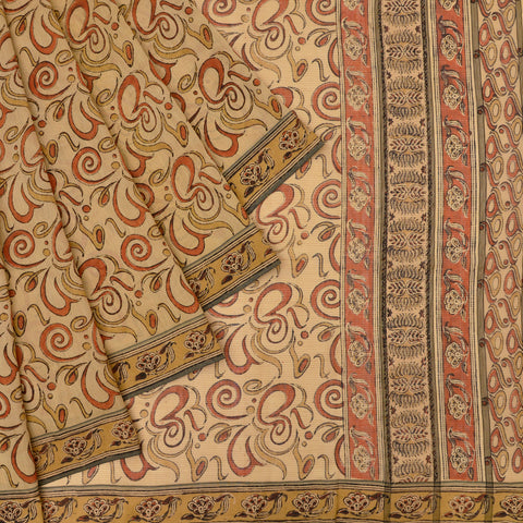 beige Handloom silk Saree with abstract butterfly