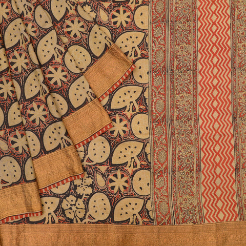 beige Handloom silk Saree with jangla pattern