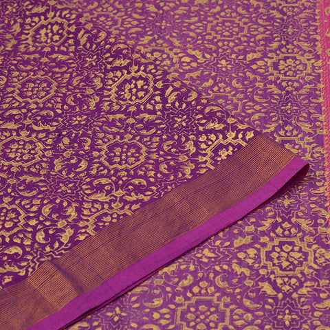 lavender Handloom cotton Saree with abstract jaal pattern