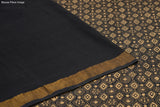 black Handloom cotton Saree with abstract jaal pattern