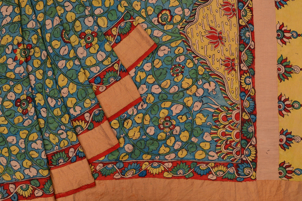 Blue Handloom silk Saree with Kalamkari Work