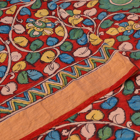 Red Handloom Silk Kalamkari Jangala Pattern Saree