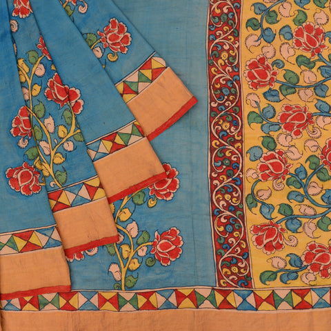 sky blue Handloom silk Saree with floral pattern