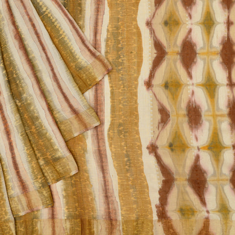 white and yellow Shibori tussar Saree with shibori pattern stripes
