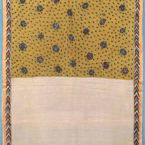 Natural Dye Hand-Painted Kalamkari Cotton Sari