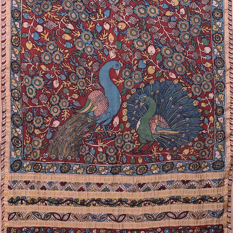 Natural Dye Hand-Painted Kalamkari Tussar x Cotton Sari