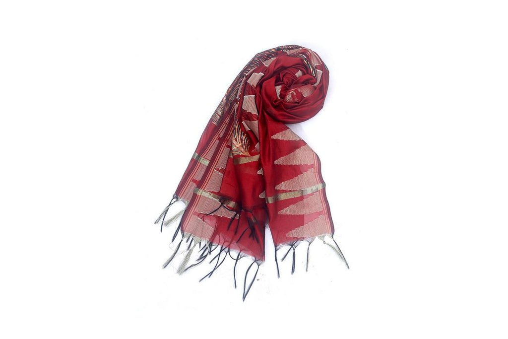 Red Chanderi Dupatta with handpainted Pattachitra art