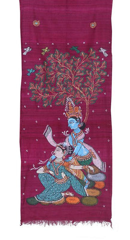 Pink Tussar Silk Stole with handpainted Pattachitra Art