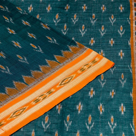 Orissa Sambalpuri Cotton Saree In Green Color