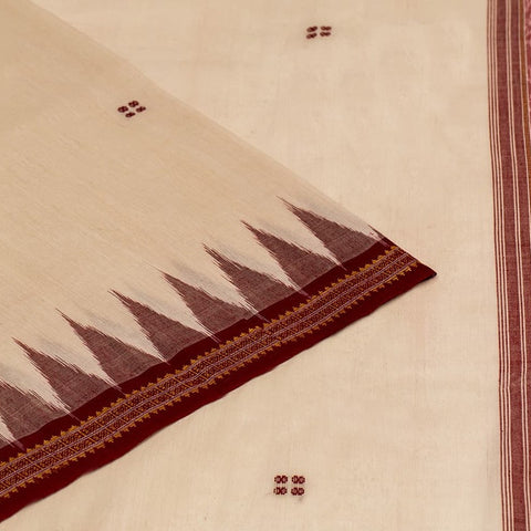 Bapta cotton handloom Sambalpuri Saree in Beige