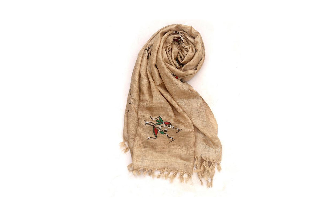 Beige Tussar Ghicha Silk Stole with handpainted Tribal Art