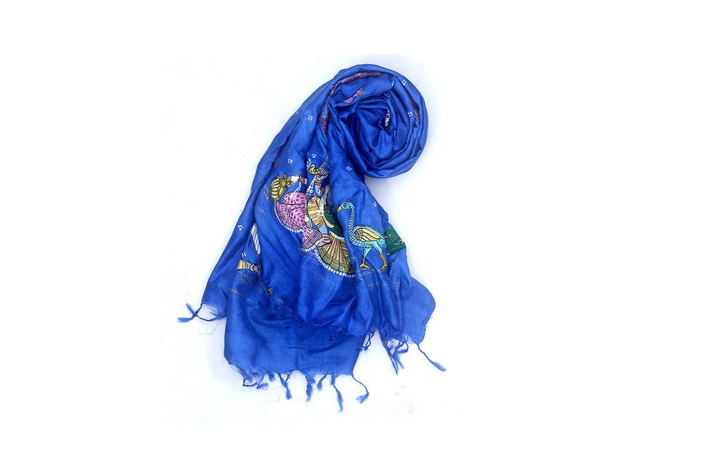 Blue Tussar Silk Dupatta with handpainted Pattachitra Art