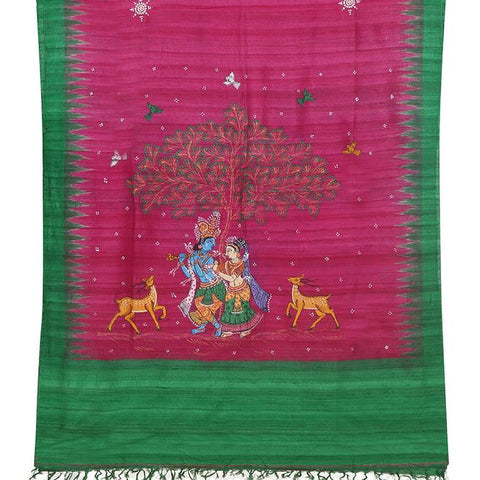 RaniPink Tussar Ghicha Silk Dupatta with handpainted Pattachitra art