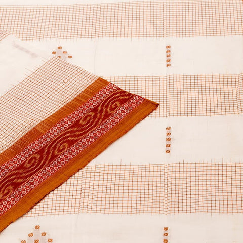 Orissa handloom Bichitrapuri cotton Saree in Offwhite