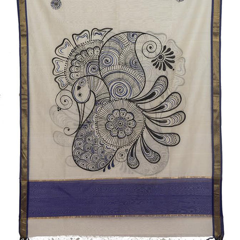 Off White Maheswari Silk Dupatta with handpainted Kalamkari  art