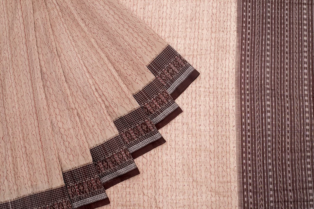 Orissa Handloom Sambalpuri Ikkat Cotton Brown Saree