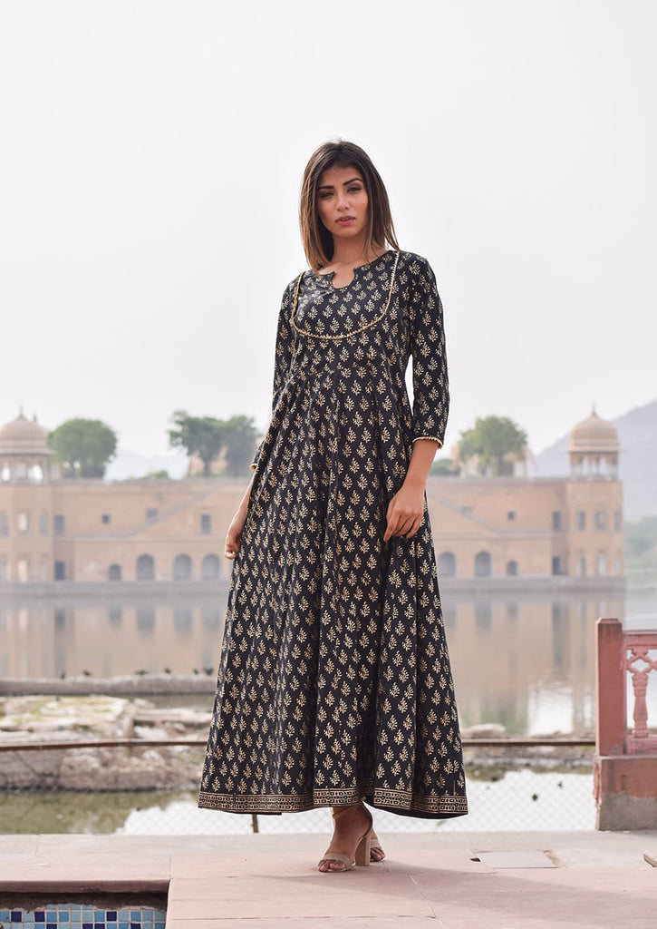 block printed Black Layered Full Length  Cotton Gown