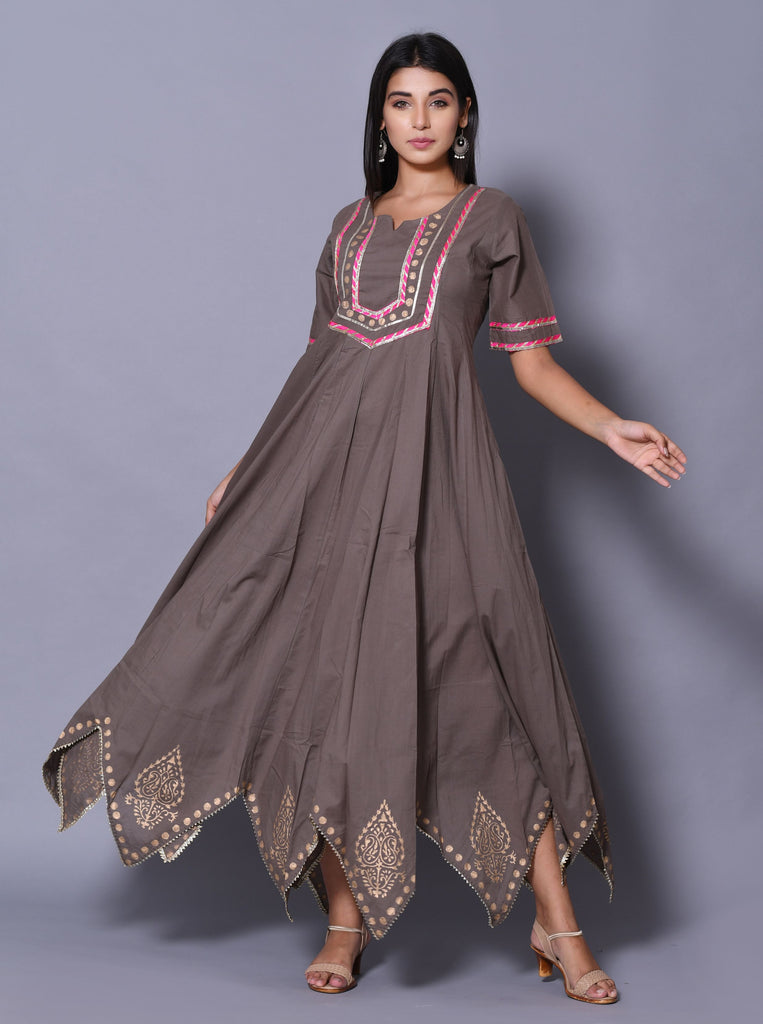 Hand Block Grey Cotton 60*60 Gown