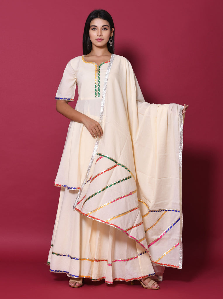 Solid Beige Cotton 60*60 Kurta Skirt Dupatta Set
