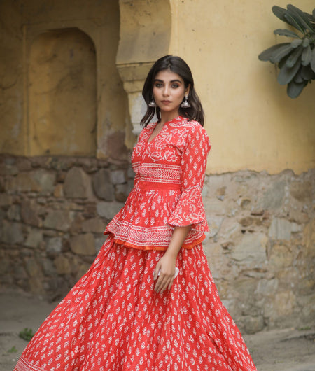 Hand Block Print Red Cotton 100*100 Mulmul Lehenga Choli and Dupatta Set