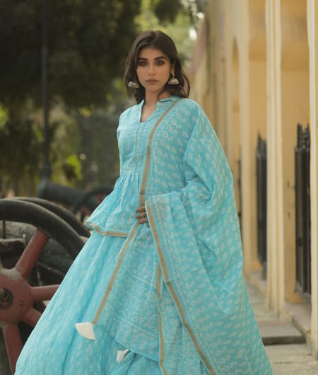 Hand Block Print Blue Cotton 100*100 Mulmul Lehenga Choli and Dupatta Set
