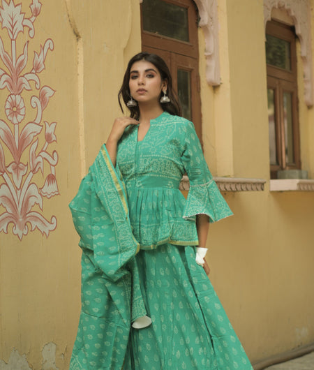 Hand Block Print Green Cotton 100*100 Mulmul Lehenga Choli and Dupatta Set