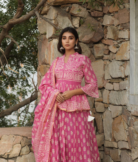 Hand Block Print Pink Cotton 100*100 Mulmul Lehenga Choli and Dupatta Set