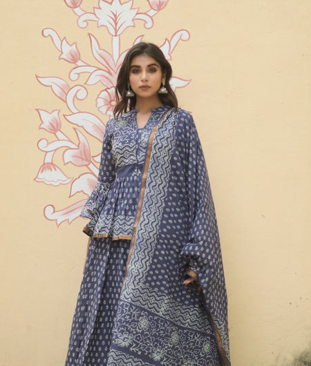 Hand Block Print Navy Blue Cotton 100*100 Mulmul Lehenga Choli and Dupatta Set