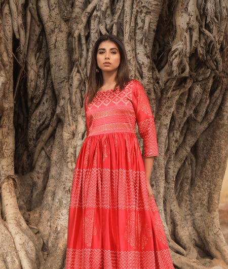 Hand Block Print Red Madras Silk Gown