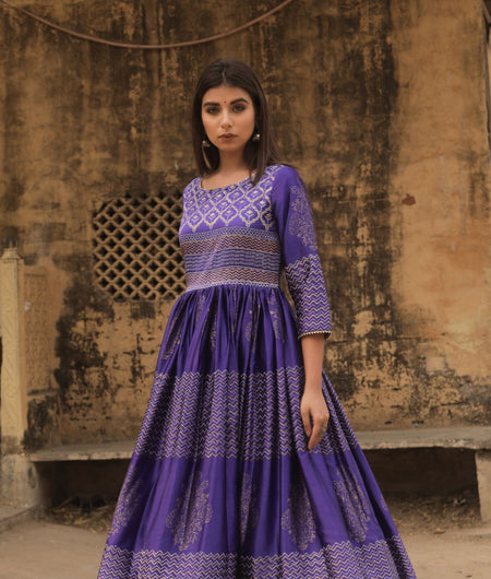 Hand Block Print Blue Madras Silk Gown