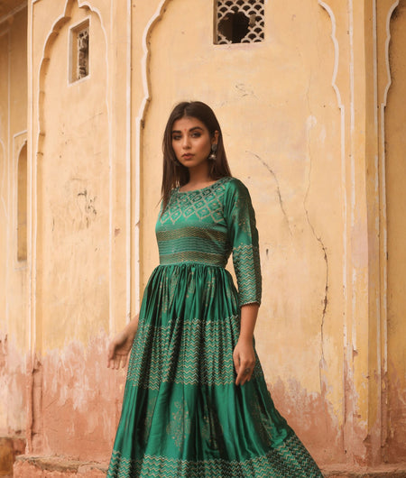 Hand Block Print Green Madras Silk Gown