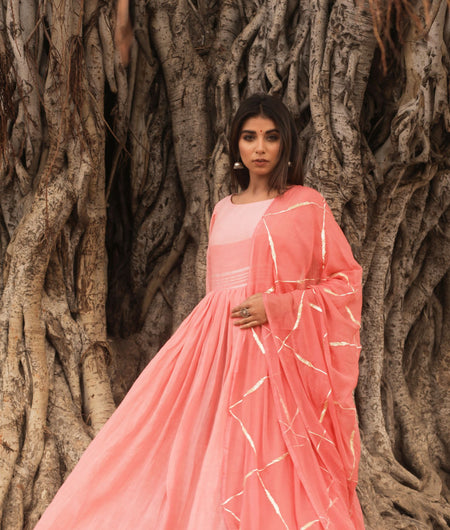 Hand Gota Work Peach Linen Cotton Gown with Dupatta