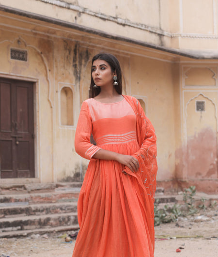Hand Gota Work Orange Linen Cotton Gown with Dupatta