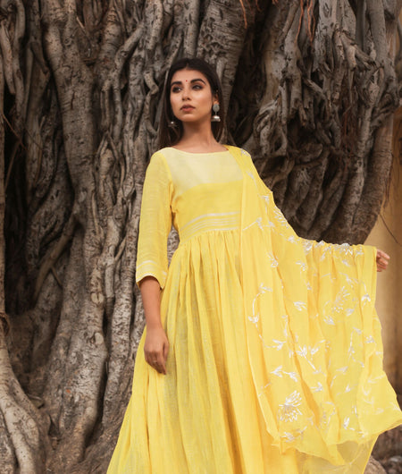 Hand Gota Work Yellow Linen Cotton Gown with Dupatta