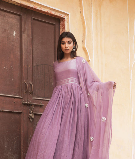 Hand Gota Work Purple Linen Cotton Gown with Dupatta