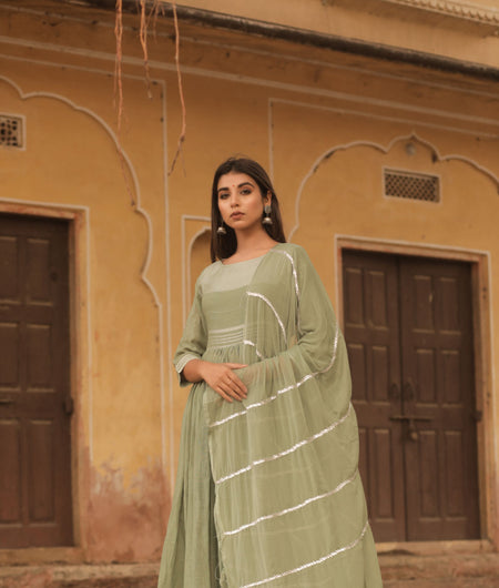Hand Gota Work Olive Linen Cotton Gown with Dupatta