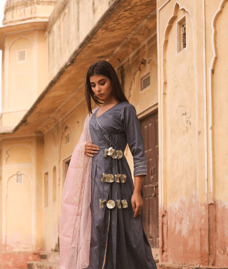 Hand Zardozi Work Grey Jaam Silk Gown with Dupatta