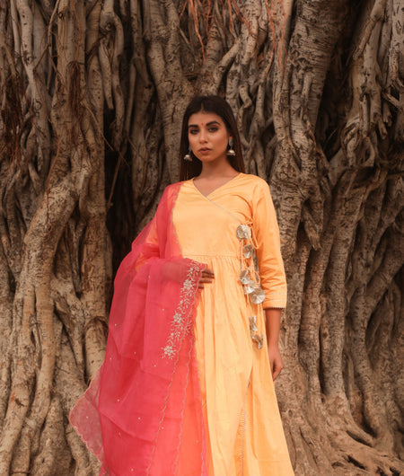 Hand Zardozi Work Yellow Jaam Silk Gown with Dupatta