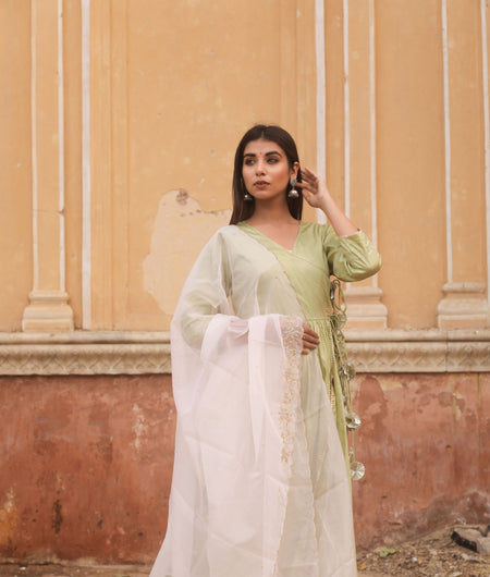 Hand Zardozi Work Olive Jaam Silk Gown with Dupatta
