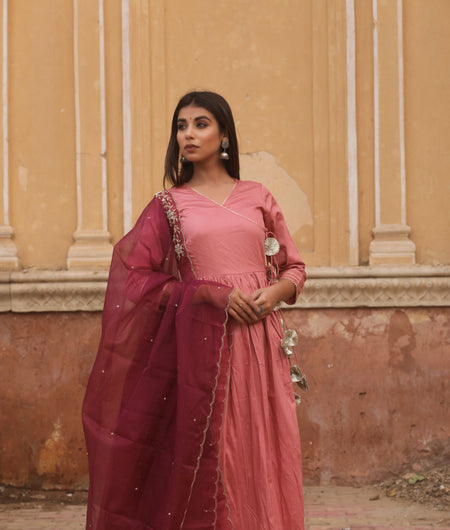 Hand Zardozi Work Mauve Jaam Silk Gown with Dupatta